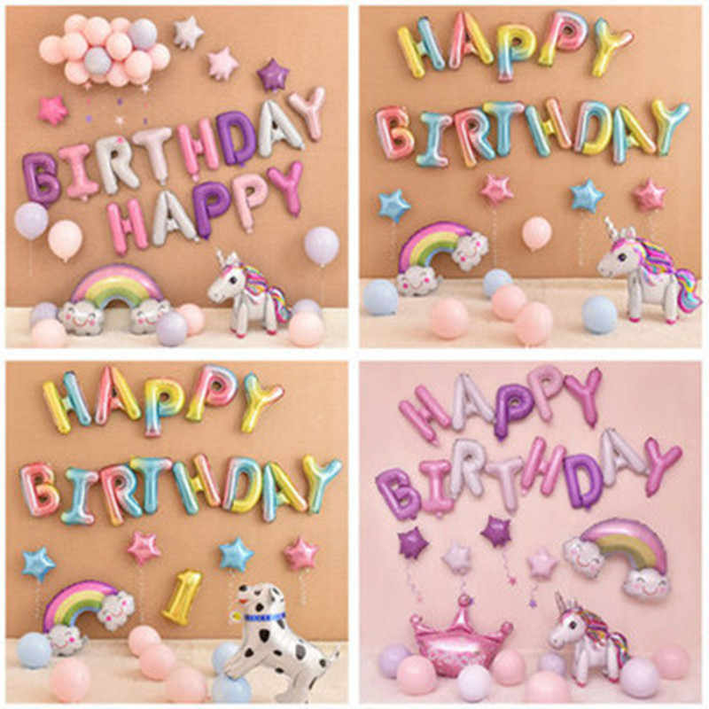 16 inch Happy Birthday balloon air Letters Alphabe Rose Gold foil balloons kids toy wedding party birthday helium globos baloon