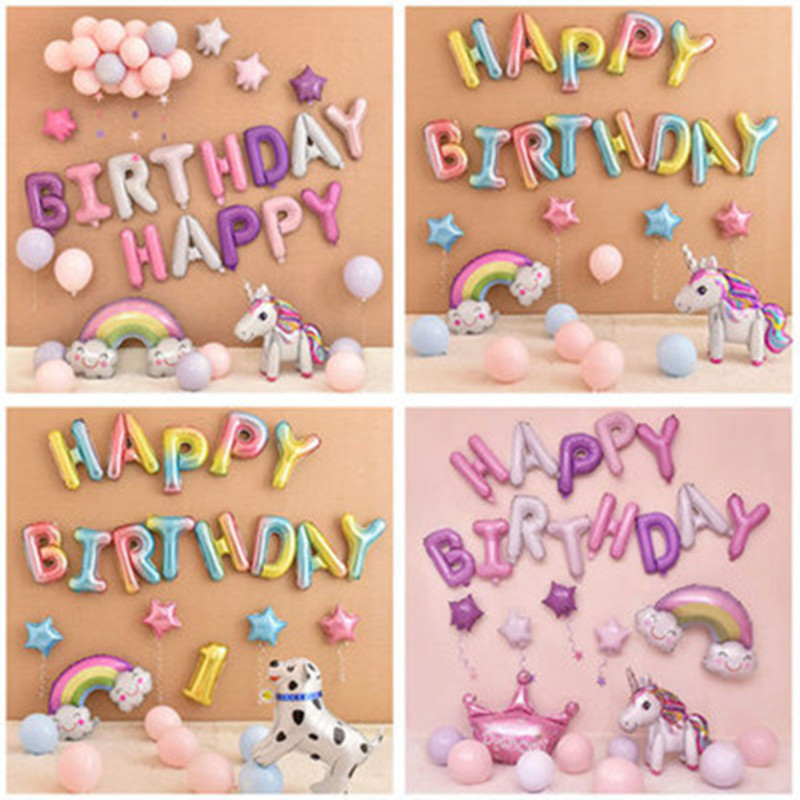 16 inch <font><b>Happy</b></font> <font><b>Birthday</b></font> balloon air Letters Alphabe Rose Gold foil balloons kids toy wedding party <font><b>birthday</b></font> helium globos baloon image