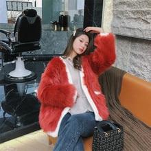 2019 BF 스타일 스플 라이스 니트 V 넥 털 복 숭이 가짜 모피 코트 새 겨울 한국 의류 따뜻한 주머니 여성 모피 자 켓 Outwear 유지