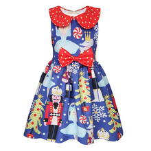 Kids Dresses for Girls Nutcracke Christmas Elf Santa Dress Santa Claus Print Princess
