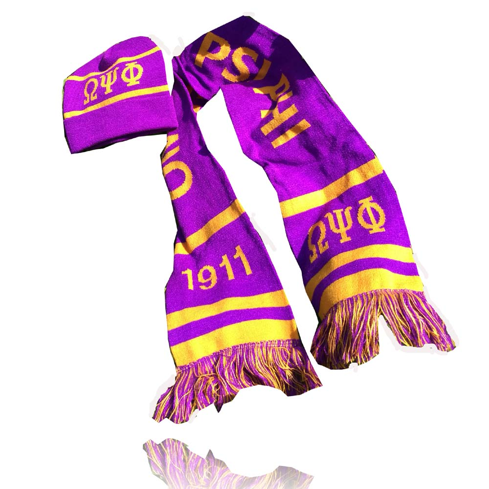 Dive Nine Fraternity Inc SCARF Omegaa Psi Phi Winter Graduation Kente Stole OMG Scarf Hat Set Knit Scarf