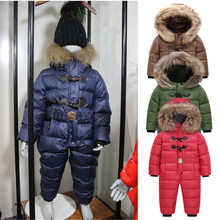 цена на 2020 Russian Winter Snowsuit -30 Baby Boy&Girl Jacket 80% Duck Down outwear Boys Kids Jumpsuit warm 2-5y baby Infant Clothes