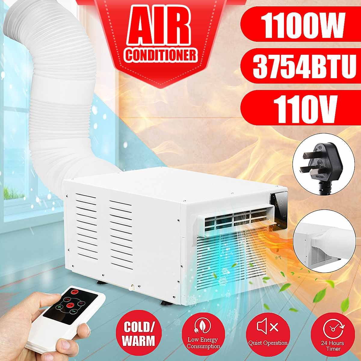 1100W Portable Air Conditioner 24-hour Timer 110V/AC 2 Gear Lighting LED Control Panel With Remote Control Cold/Heat Dual Use