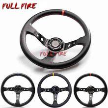 350MM Leather Steering Wheel om Drift racing PVC/PU/Suede Universal