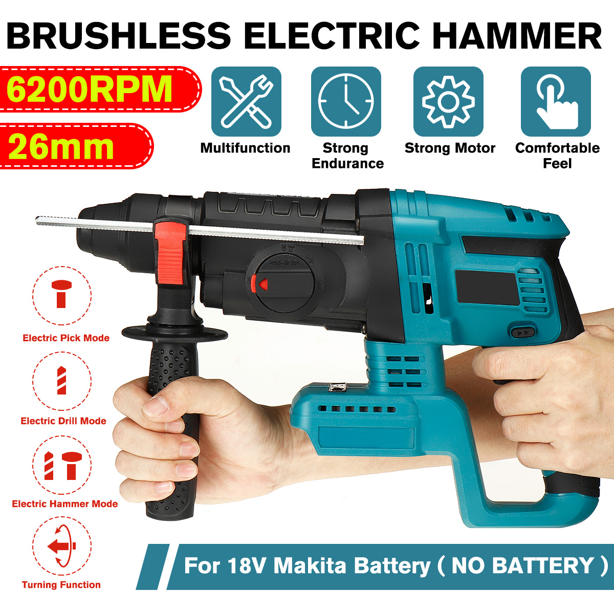 Drillpro 4 Function Brushless Cordless Electric Rotary Hammer Drill Rechargeable Hammer 26mm Impact Drill for 18V Makita Battery