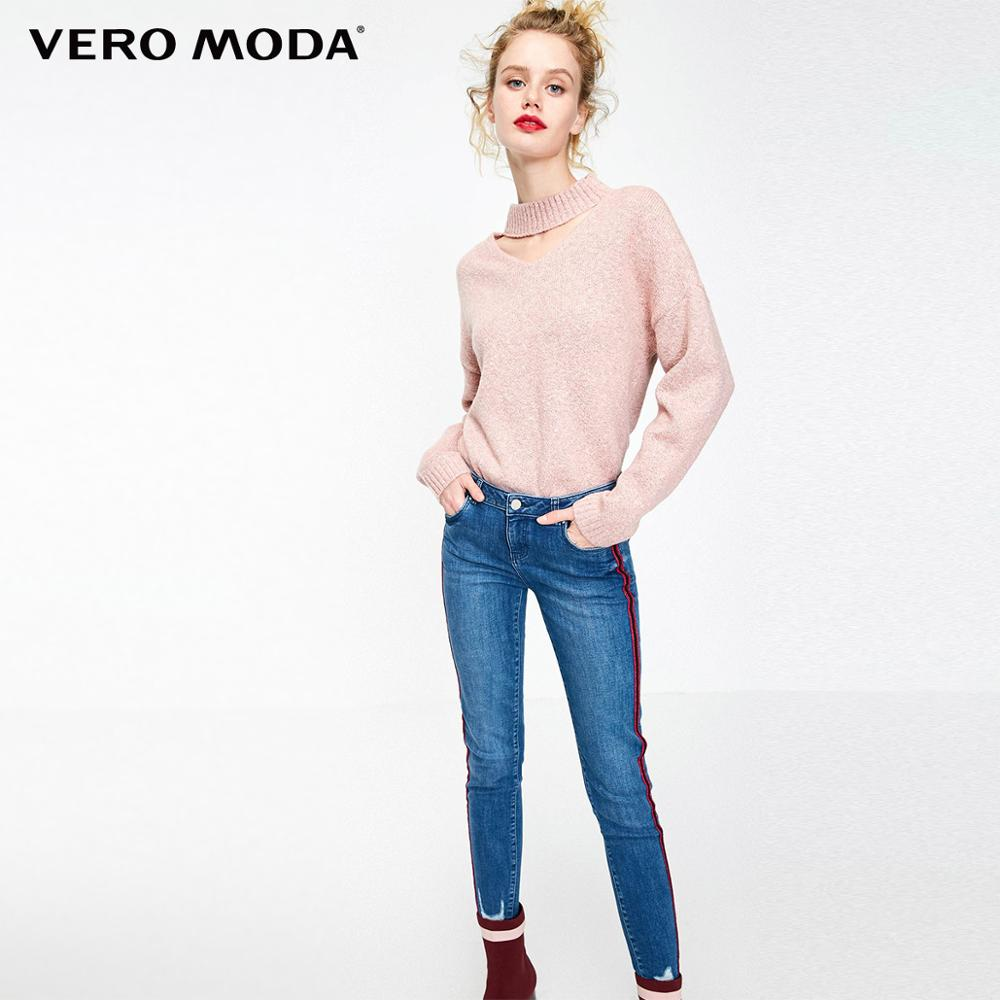 Vero Moda Women's Striped Side Seams Low-rise Slim Fit Crop Jeans | 319149502