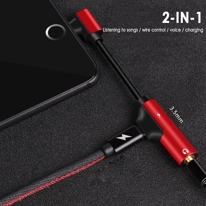 2 In 1 Type-C To Type C 3.5mm Aux Jack Charging Audio Adapter Type C To 3.5mm Headphone Jack Cable Converter Charger Option