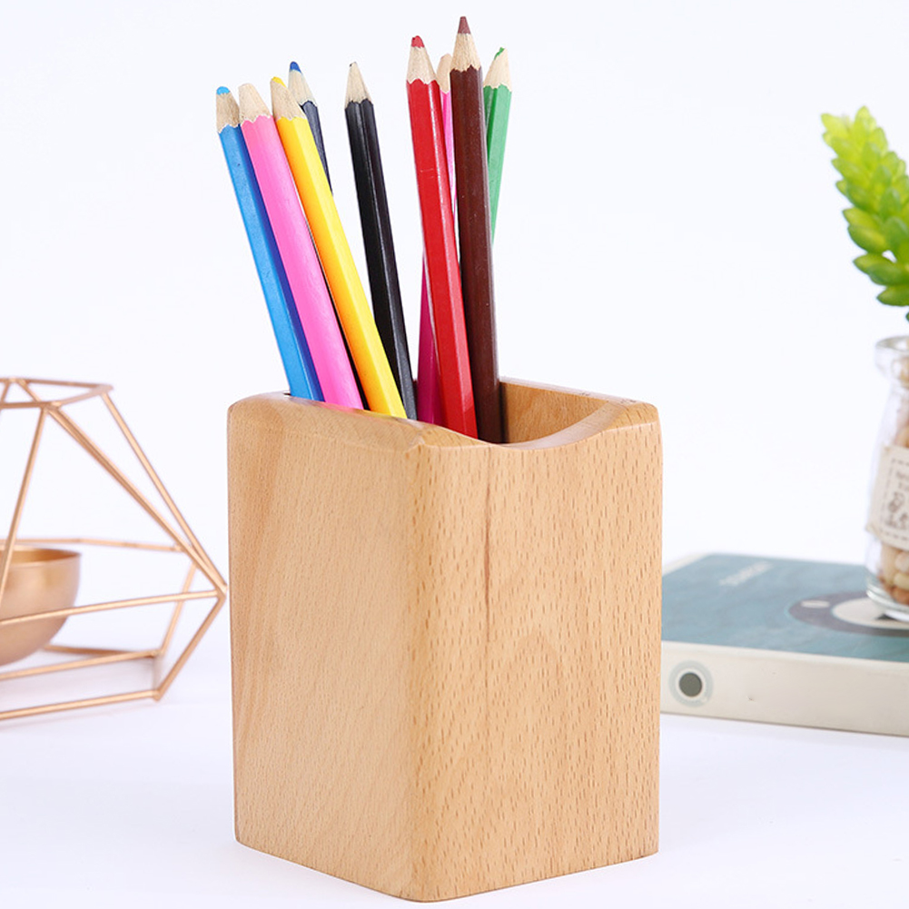 Multifunction Office Wooden Pen Holder Pencil Storage Container Decoration Desk Organizer School Stationery Home Square Stand