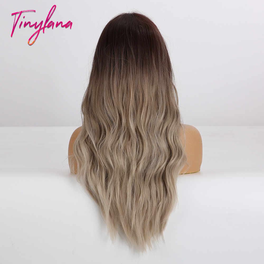 Pequeña LANA largo onda ombre marrón rubio ceniza peluca sintética gris peluca para mujeres Natural medio resistente al calor Cosplay del pelo