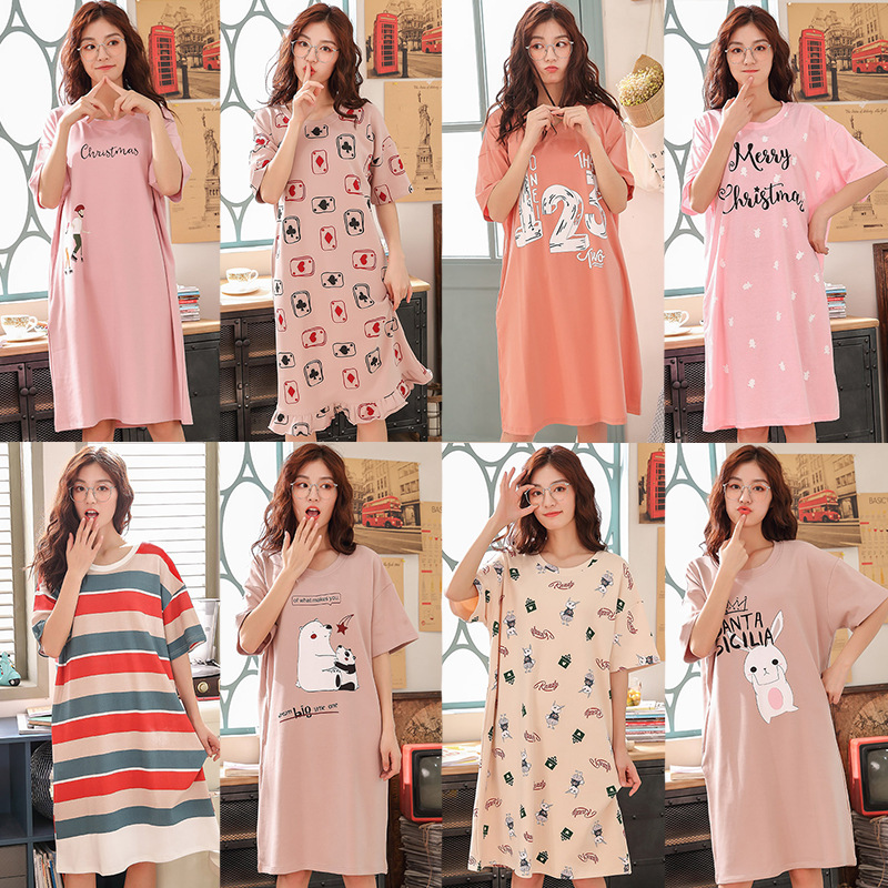 According To Feminine Nightgown Female Summer Knitted Cotton Short Sleeve Fresh Style Pajamas Female Youth Long Student's Dress-