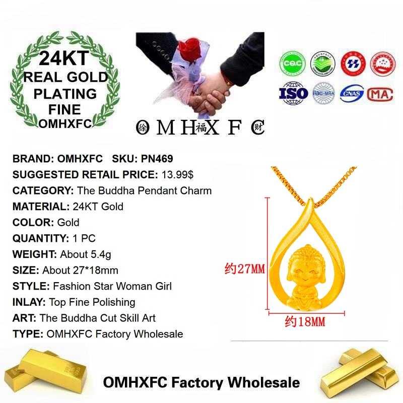 Omhxfc Perhiasan Holesale PN469 Eropa Fashion Wanita Baik Gadis Pesta Ulang Tahun Pernikahan Hadiah Buddha 24KT Emas Liontin Pesona
