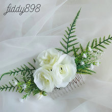Newest Romantic Bridal Flower and Leaf Wedding Hair Accessories Floral Combs for Bride tocados flores bodas