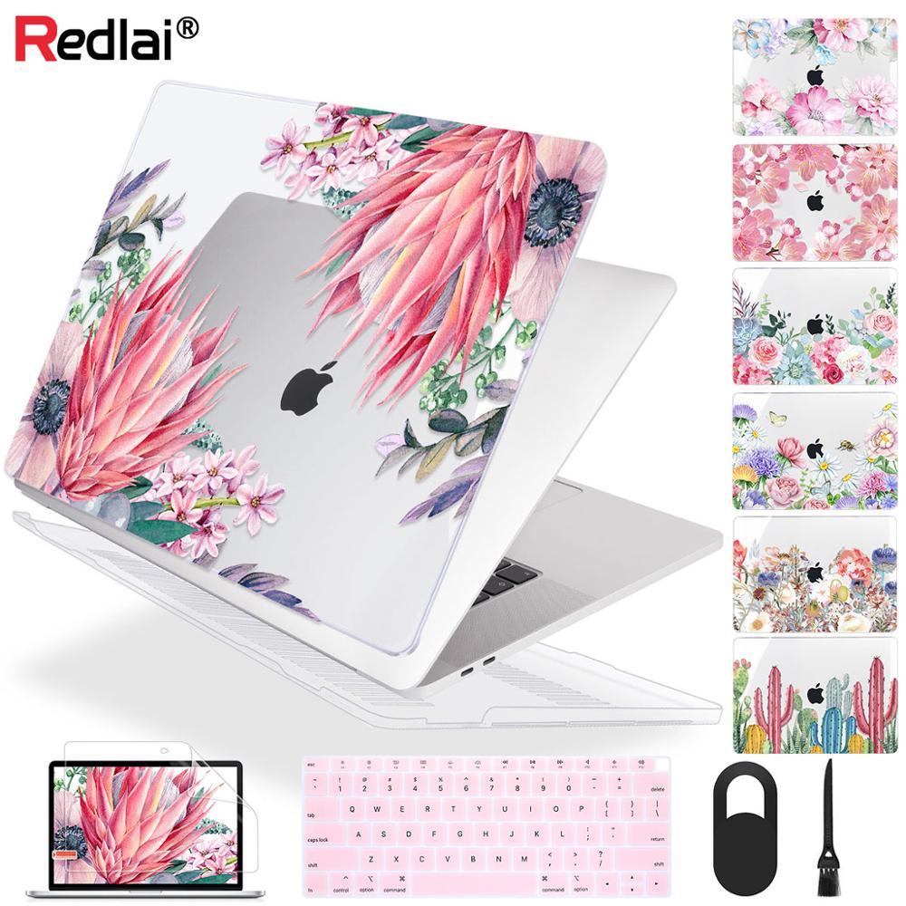 Redlai flor toque macio caso do portátil para macbook pro 13 16 polegada 2020 a2289 a2141 a2159 capa para mac ar 13 polegada a2179 a1932 a1466
