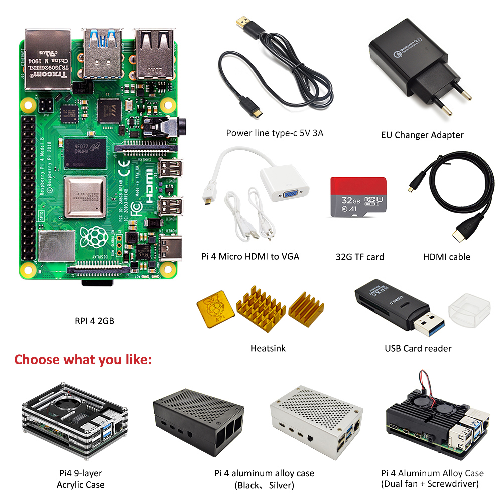Original Raspberry Pi 4 Model B 2GB RAM Complete Kit:case + EU Power Adapter + Switch Line + 32GB TF Card+Micro Hdmi-vga Adapter