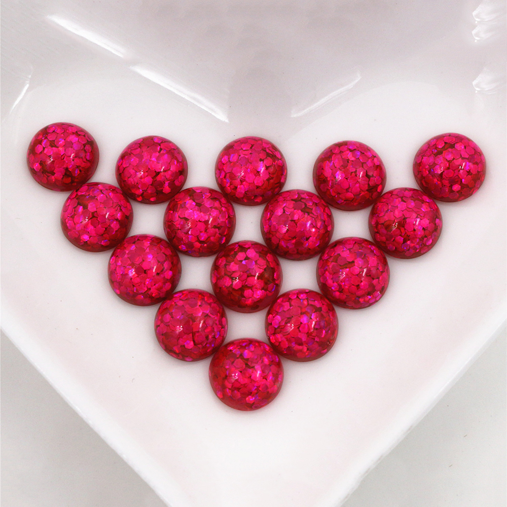 New Fashion 40pcs 10mm Rose Red Color Flat Back Resin Cabochons Cameo  O6-20