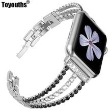 Pulseira de diamante para apple watch band 40mm 44mm bling jóias aço inoxidável banda feminina para iwatch série 5 4 3 2 1 38mm 42mm