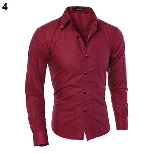 2019 moda masculina argyle luxo estilo de negócios manga longa casual vestido camisa estilo de negócios fino se encaixa manga longa camisa casual