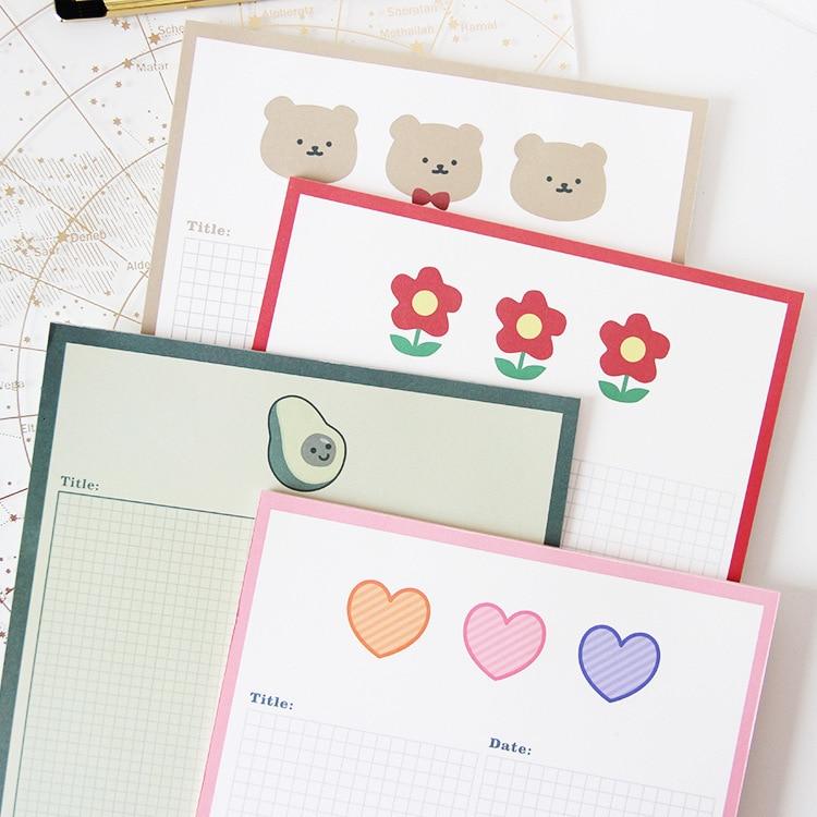 SIXONE 30 Sheets Cute Cartoon Bear Floret Avocado Grid Memo Pad Kawaii Stickers Student Diary Girl School Note Book Stationery