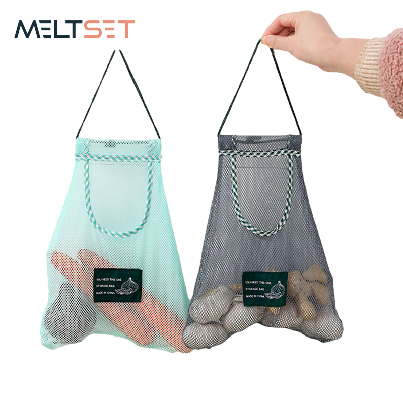 Cotton Mesh Vegetable Bags Hanging Reusable Produce Bag for Fruit Vegetable Grocery Bags Washable Kitchen Supplies Eco Friendly
