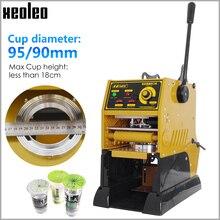 XEOLEO manuel bardak mühürleyen bardak yapıştırma makinesi yarı otomatik kabarcık çay makinesi/9/9 5cm kağıt/PE/PP süt çay bardağı mühür 220V