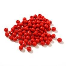 Популярные натуральные 10 мм деревянные бусины круглый шар деревянные горячие модные бусины ручной работы для изготовления ювелирных изделий ожерелье 100 шт красный
