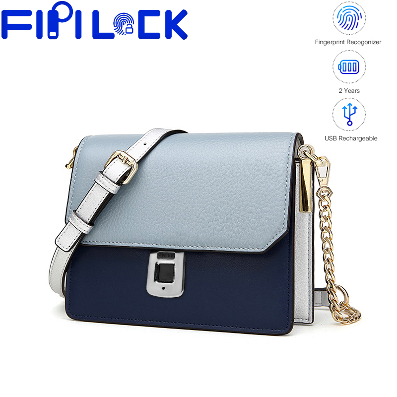 Fipilock FL-V14 Fingerprint Leather Handbags Smart Anti-theft Women Bag Casual Female Bags Shoulder Bag Ladies Large Bolsos