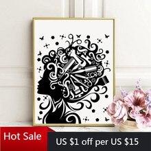 Affiche de Salon de coiffure, ciseaux peigne pour femmes, mode Art imprimé, toile, peinture, décoration murale, photo, cadeau pour coiffeur