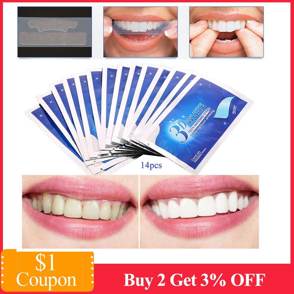28Pcs 3D Teeth Whitening Strips Dental Whitener Tools Teeth Veneers White Gel Whitestrips Dental Whitening Tooth Smile Veneers
