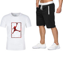 Men Tracksuits 2021 Summer Short Sleeve Tee shirt+Shorts Set Casaul Slim Fit Sporting Suit Mens