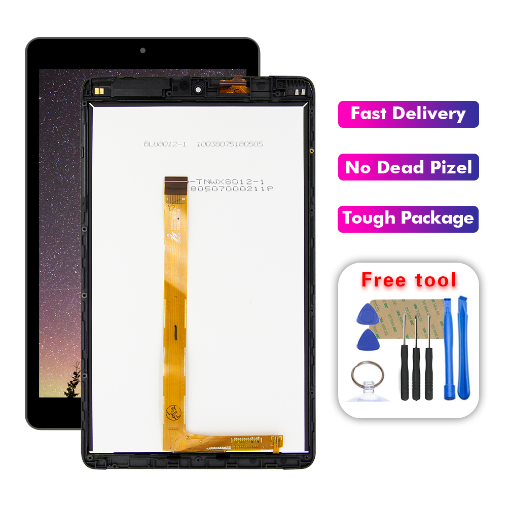 For Alcatel 3T 8.0 2018 9027W 9027 LCD Display Touch Screen Digitizer Glass Sensor Assembly + Frame