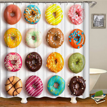 Donut thick shower curtain bathroom toilet partition mold mild waterproof Nordic wind print creative pattern