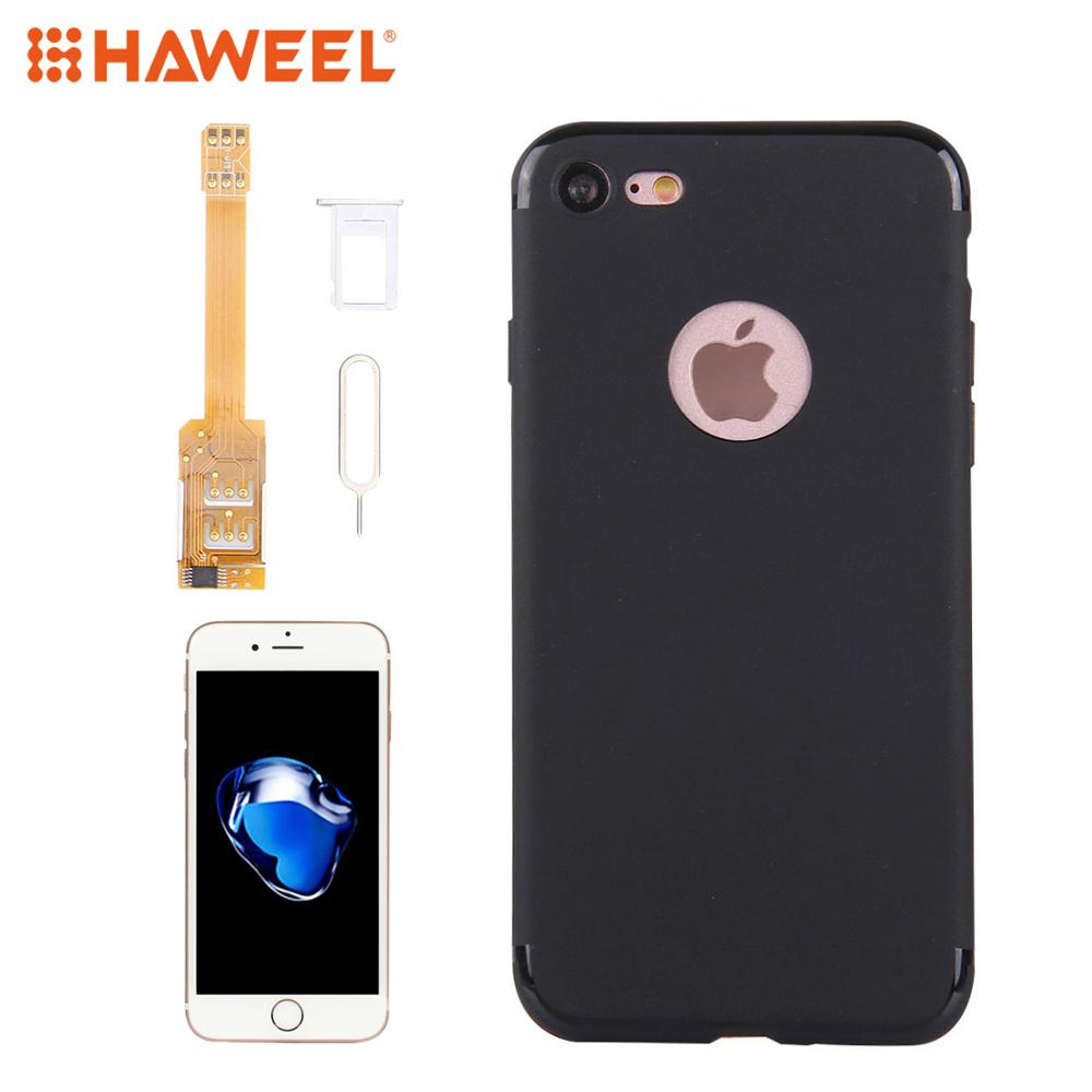 HAWEEL Kumishi For IPhone 7/X  In 1 Dual SIM Card Adapter + TPU Back Case Cover With SIM Card Tray / SIM Card Pin