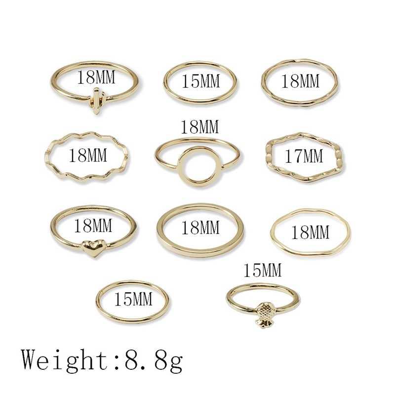 11 stk/set Nieuwe Eenvoudige gouden liefde ananas hollow ronde ins wind ring set ringen voor vrouwen bagues giet femme wedding ringen