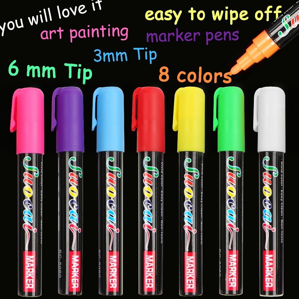 1 Pcs 8 Warna Highlighter Liquid Chalk Marker Pens untuk Sekolah Seni Lukisan Putaran & pahat Tip 6mm 3mm Gratis pengiriman