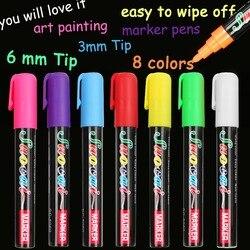1 sztuk 8 kolory wyróżnienia Marker z kredą w płynie długopisy szkolne artystyczny obraz okrągły i dłuta wskazówka 6mm 3mm darmowa wysyłka