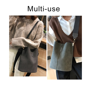 Image 2 - Brand Design Women Bucket PU Leather Shoulder Bag Large Capacity Lady Crossbody Bags Wide Strap Female Solid Color Totes Handbag