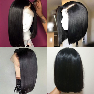 Image 2 - Lace Front Wigs Bob Peruvian Straight Lace Front Human Hair Wig Pre Plucked Natural Hairline Straight Human Hair Short Bob Wigs