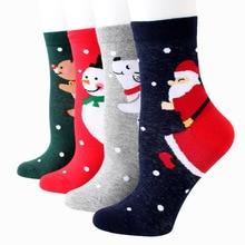 New Europe Christmas socks cartoon wild Santa 200 needle cotton sweat jacquard elk cute female sock