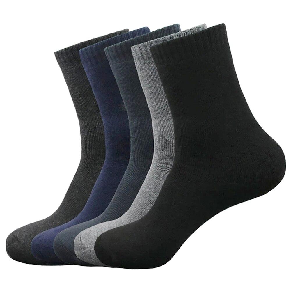 Носки мужские хлопковые однотонные, деловой стиль, повседневные дышащие теплые, для весны и зимы, 5 пар