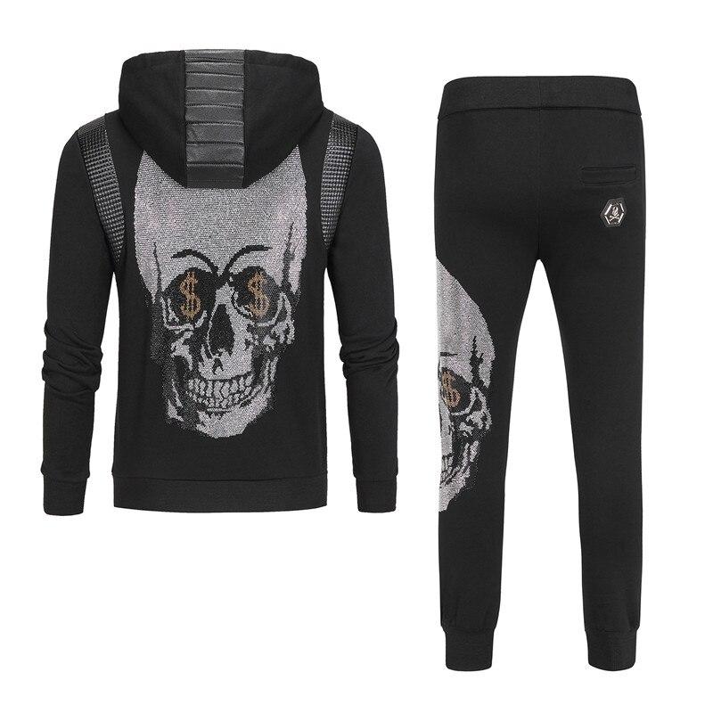 2019 Skull Rhinestones Hoodies Set Men Sweat Suit Clothes Tracksuits Male Sweatshirts Coats Polo Track Suits Joggers Street Wear