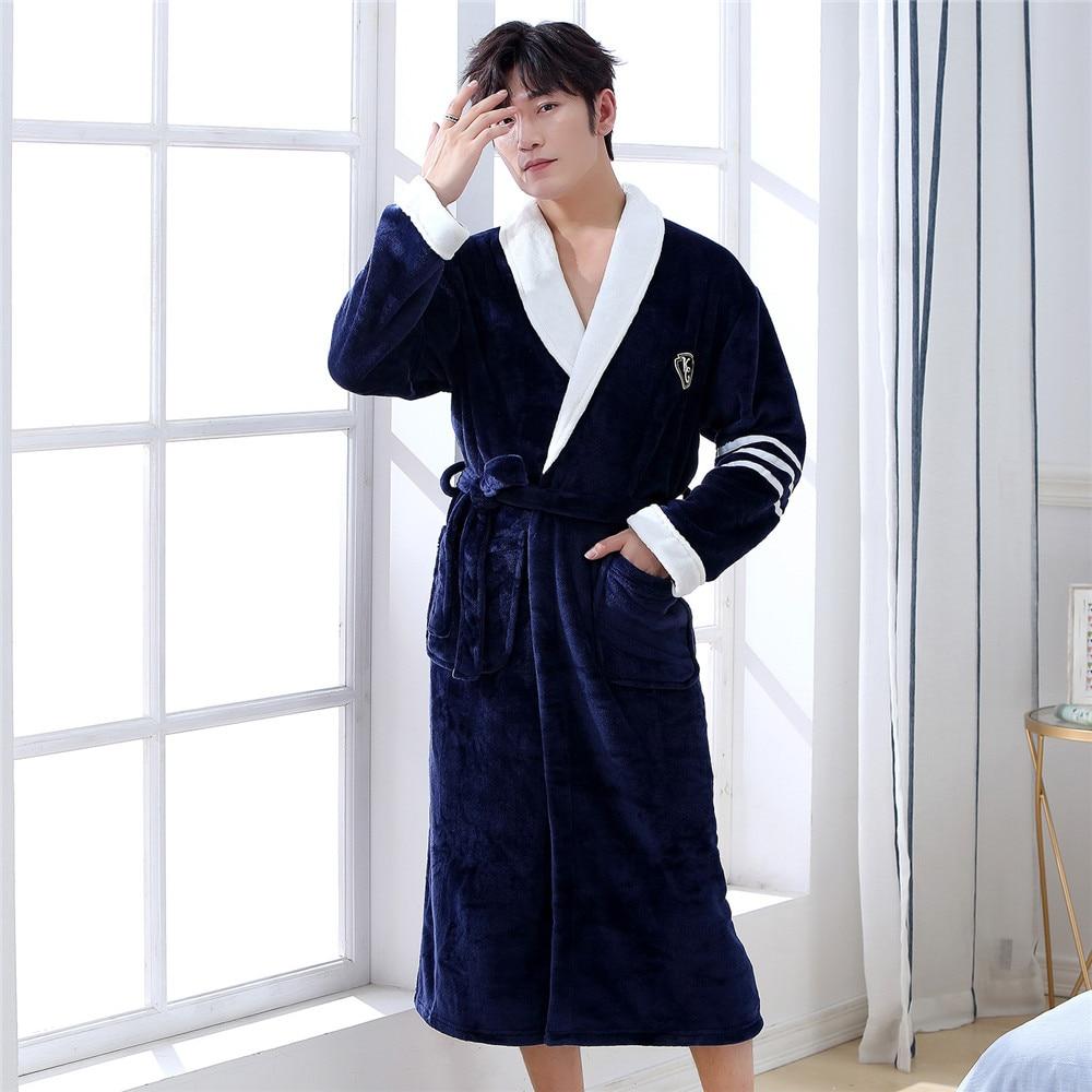 Short Warm Coral Fleece Home Clothing Negligee Thick Men Kimono Bathrobe Gown Winter Flannel Belt Pyjamas Sleepwear Nightgown
