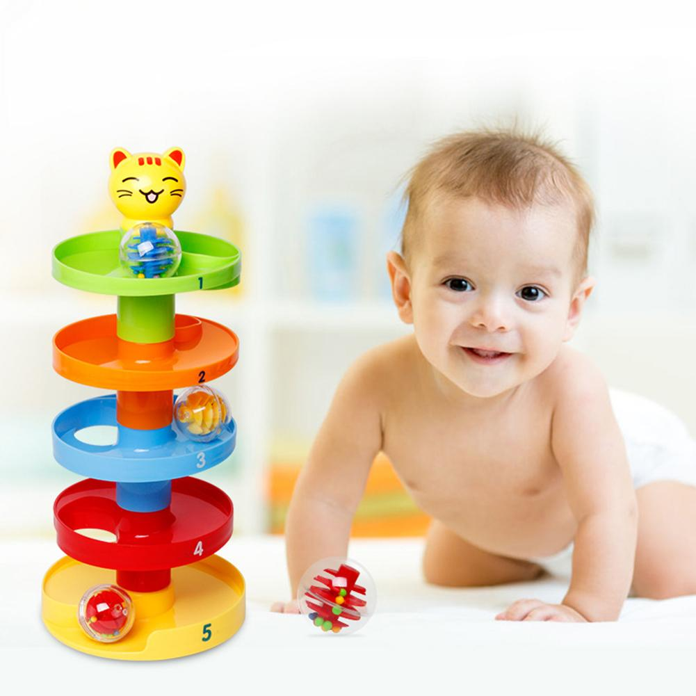 5 Layer Ball Drop Roll Swirling Tower Toddler Baby Development Educational Toy