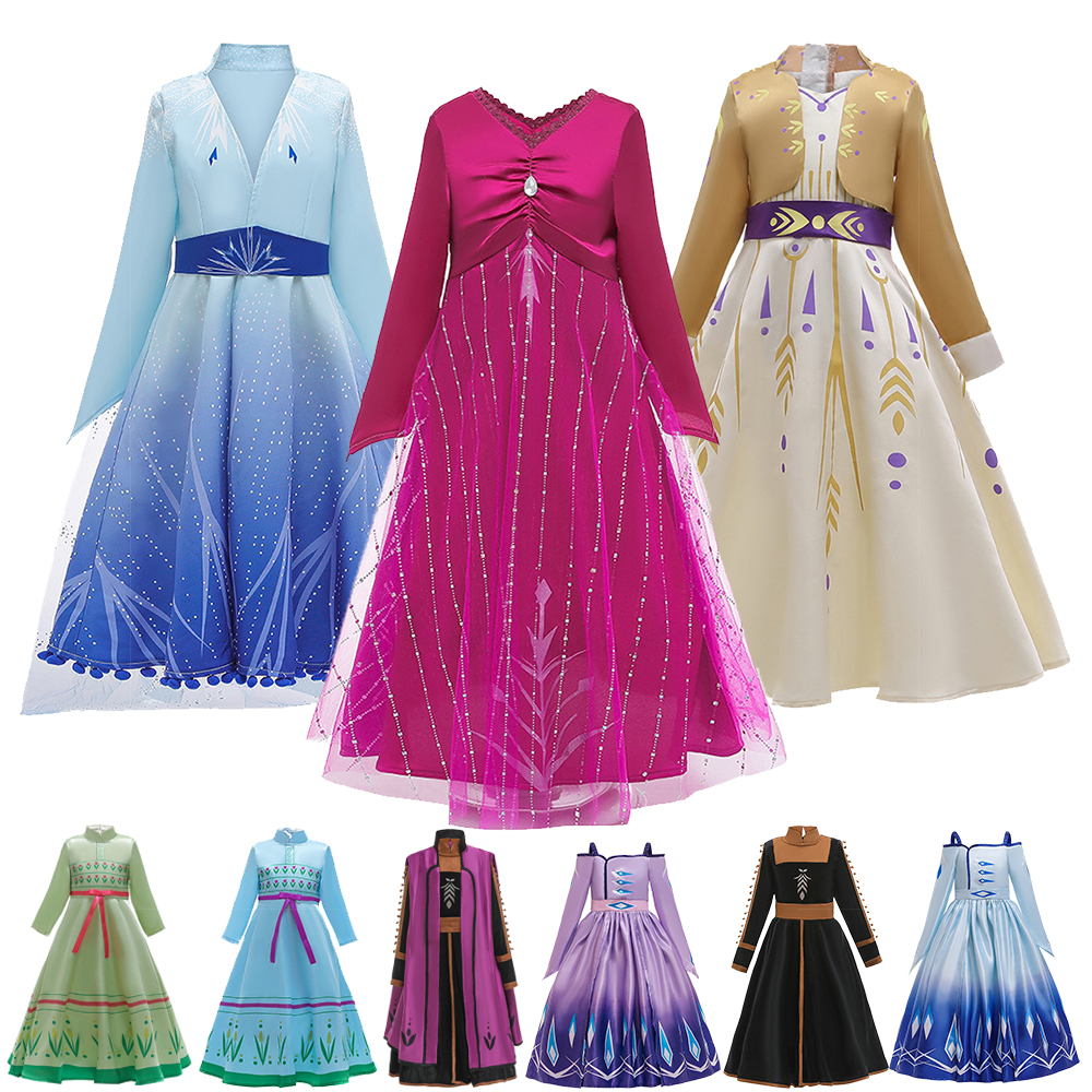Snow Queen 2 Princess Dress For Girls Costumes Christmas Girls Dresses  New Year Kids Cosplay Costume Dress Children Clothing