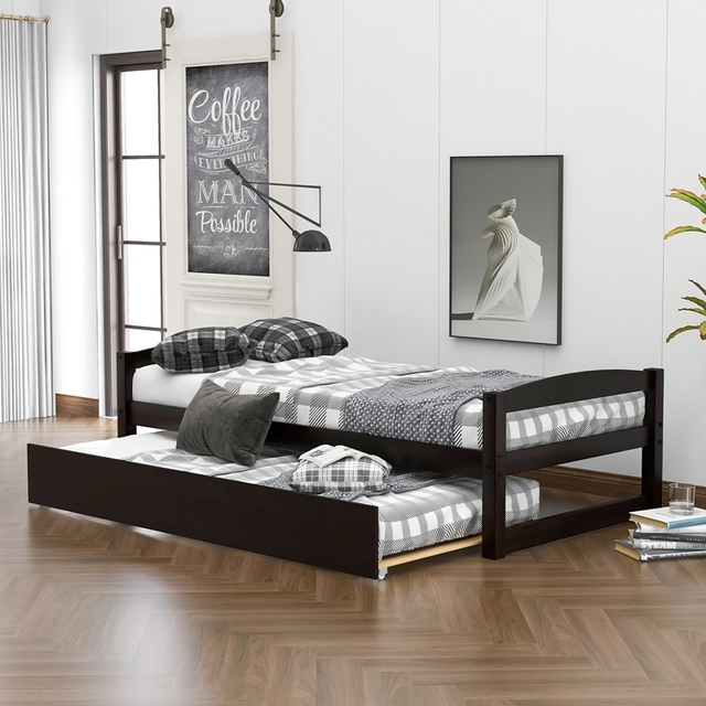 Wood Bed w/ Sliding Trundle Bed  5