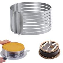 16cm-20cm Adjustable Layered Cake Slicer Mold Round Stainless Steel Bread Slicer 7 Layers Mousse Ring Mould Kitchen Baking Tool 15 20cm stainless steel adjustable cake cutter layered slicer baking tool kit set mould slicing mousse cake ring