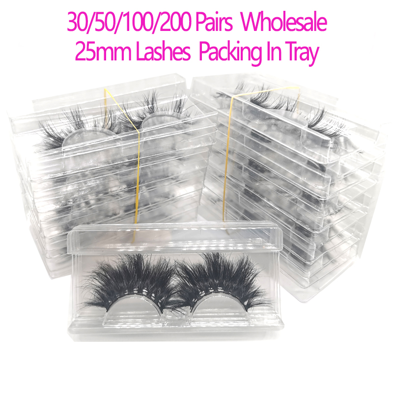 30/50/100/200Pairs Wholesale 25mm 3D Mink Eyelashes 5D Mink Lashes Packing In Tray Label Makeup Dramatic Long Mink Lashes