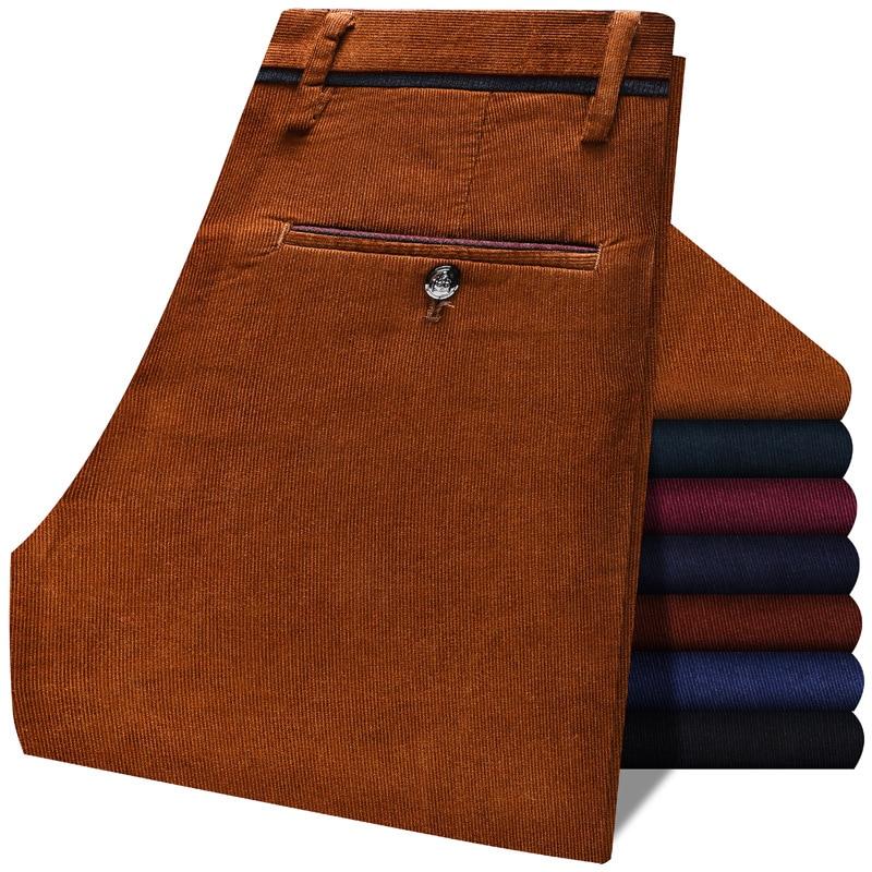 Осенние и зимние мужские вельветовые плотные повседневные брюки, деловые модные Стрейчевые тонкие брюки, мужские брендовые коричневые, красные, темно синие, черные|Повседневные брюки|   | АлиЭкспресс