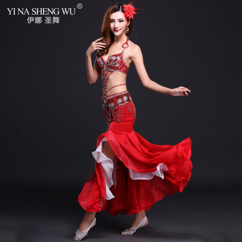 New High Quality Belly Dance Costume Sexy Bra+Skirt+belt Stage Performance Suits Outfits Oriental Belly Dance Clothes Slit Skirt