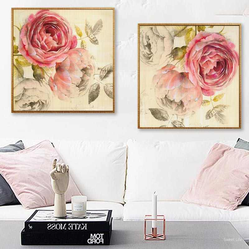 Nordic Pink Peonies Flowers Canvas Paintings Gallery Posters Prints Wall  Art Pictures Gifts for Women Bedroom Home Decoration