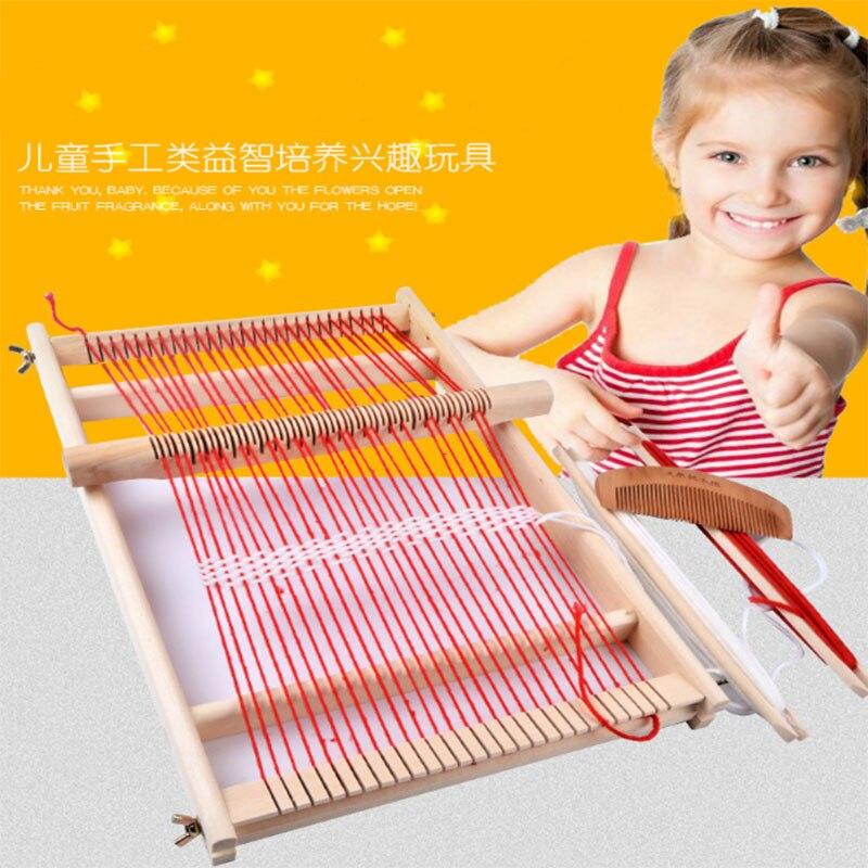 Wooden Weaving Machine Mini Loom Kids Intelligence Develop Eaducational Toy Children DIY Hand Knitting Toy